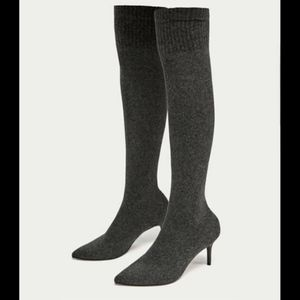 New ZARA Over-The-Knee knitted boots - Grey
